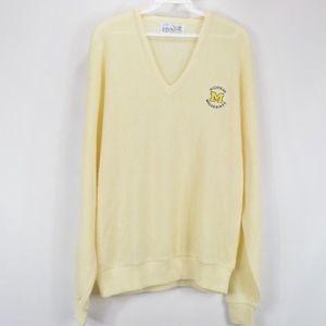 80s Mens XL Michigan Wolverines V Neck Sweater